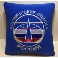 Подушка с вышитой эмблемой Космических войск России